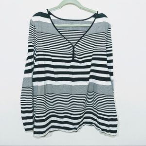 Venezia Lane Bryant Black and White Stripe Tee